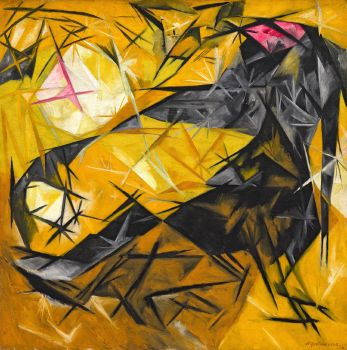 Cats (rayist percep.[tion] in rose, black, and yellow) (1913)