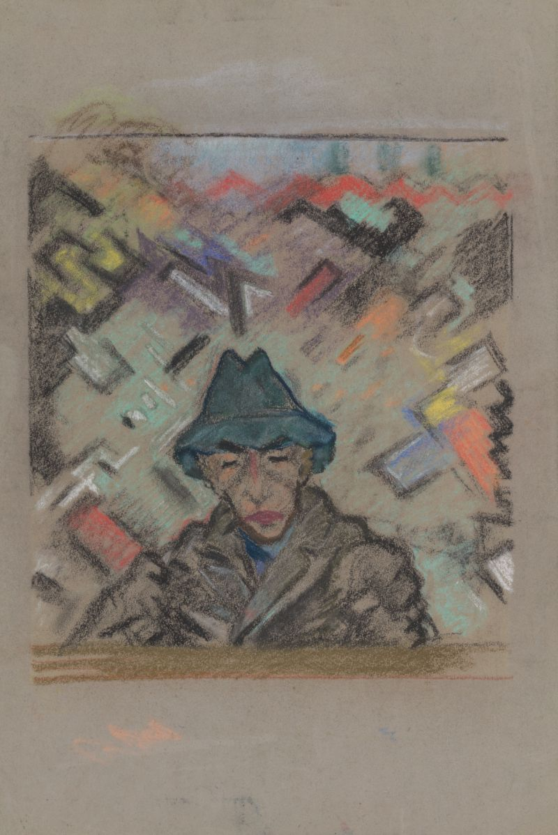 Bust of a Man in a Hat with Decorative Background (1937)