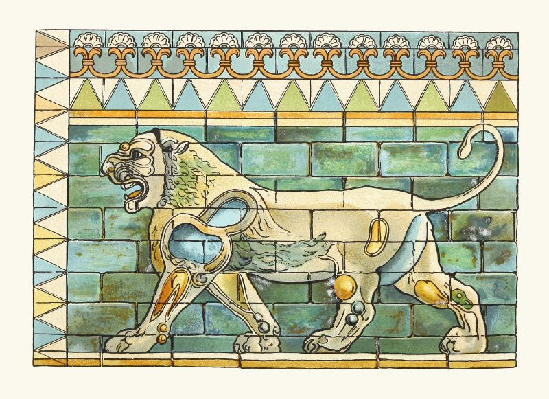 Portion of the Lions Frieze ffrom the Ancient Persian Palace at Susa (1912)