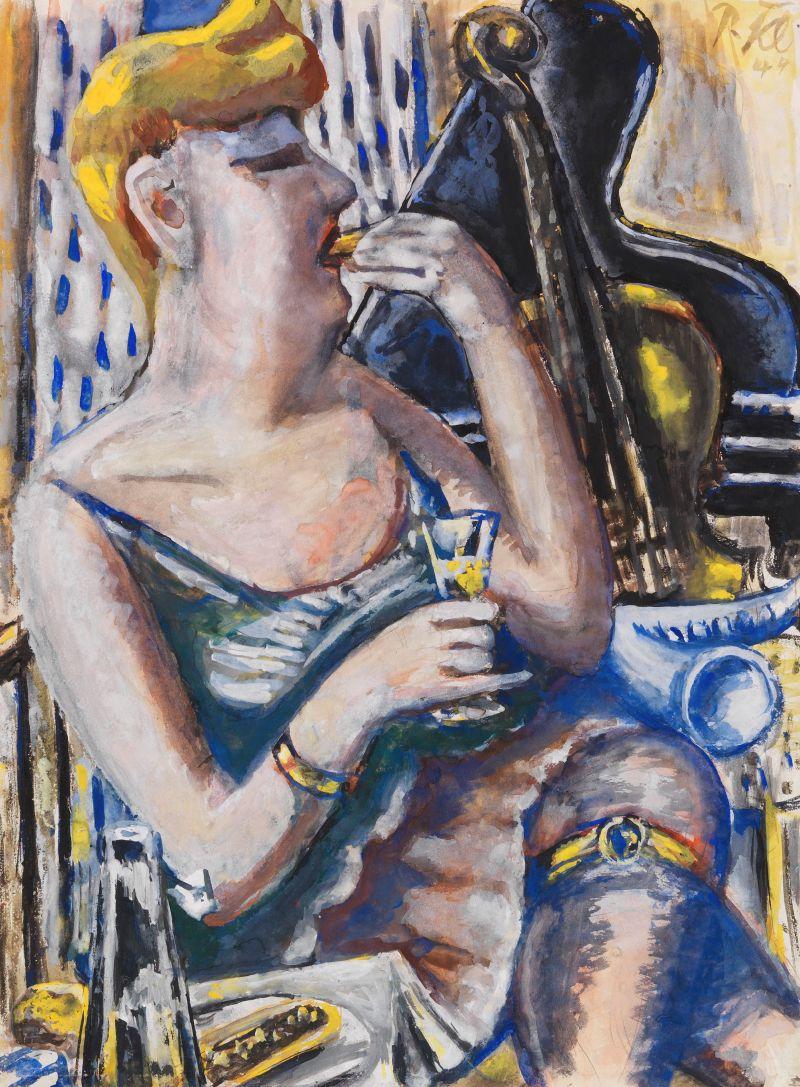 Die Musikantin in der Pause (Essende, Damenkapelle) (1944)