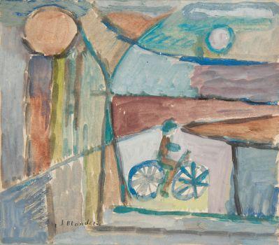 Rowerzysta na tle pejzażu (1934)