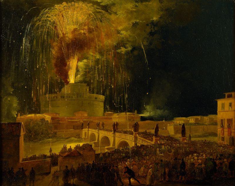 La Girandola Fireworks From Castel Sant'angelo In Rome (1830s)