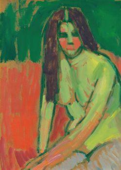 Sitzender Halbakt Geneigt Mit Langen Haaren (Half-Nude Figure With Long Hair Sitting Bent)