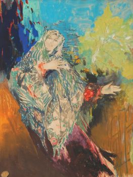 Dancing Peasant Woman In A Colourful Shawl