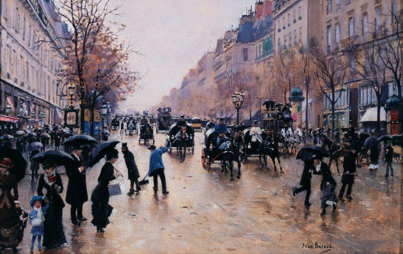 Le boulevard Poissonière sous la pluie (1880)