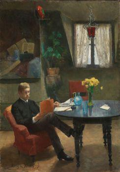 Arne Garborg visiting the Artist's Studio in Paris (1887)