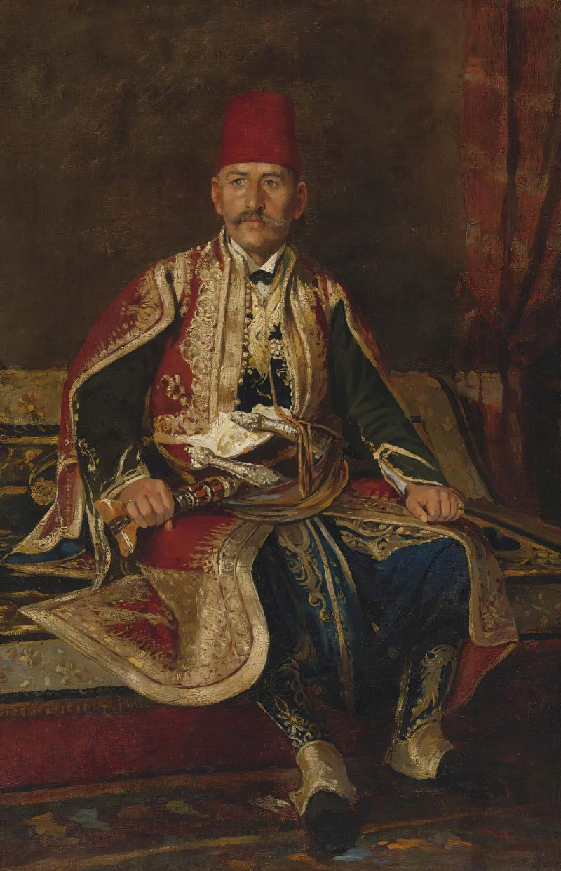Turkish noble seated in a carpeted interior