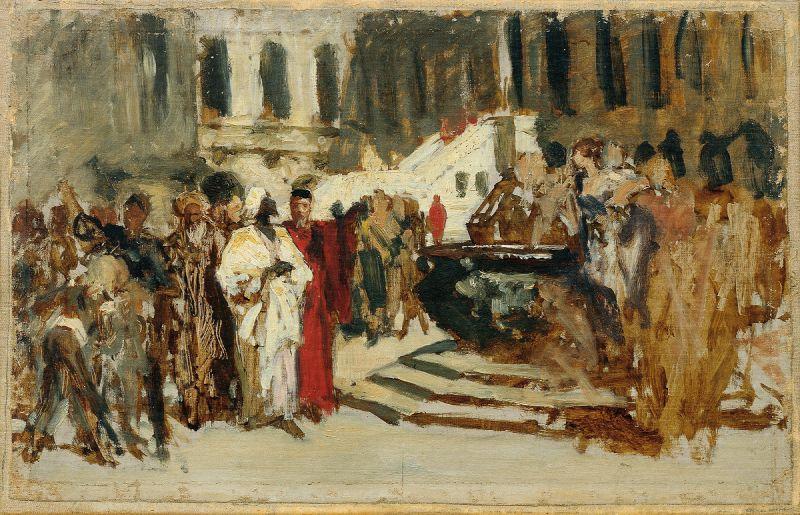 Skizze zum Gemälde 'Arabische Kaufleute in Venedig' (1873)