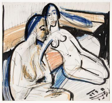 Two Seated Women in Studio (1912)