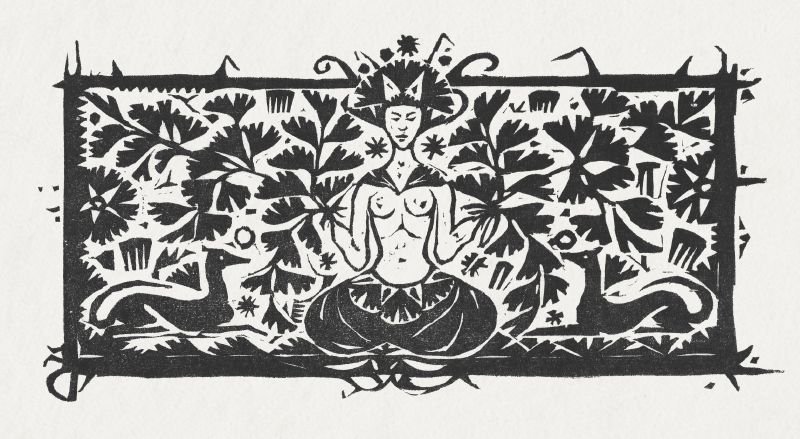 Meditating woman, maiden hair and dogs (ca.1893–1927)