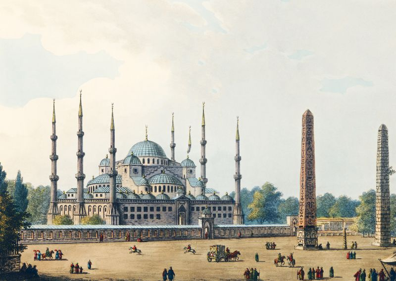 Mosque of Sultan Achmet from Views in the Ottoman Dominions, in Europe, in Asia, and some of the Mediterranean islands (1810)