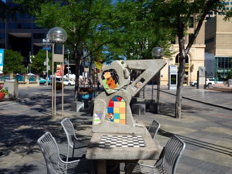 Chess meets modern art in Denver, Colorado's, 16th Street Pedestrian Mall (Photo by: Highsmith, Carol M.)