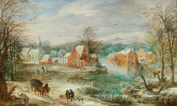 A winter landscape with a village and travellers on a path