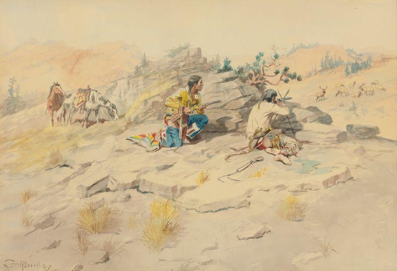 Indians Stalking Elk (1897)
