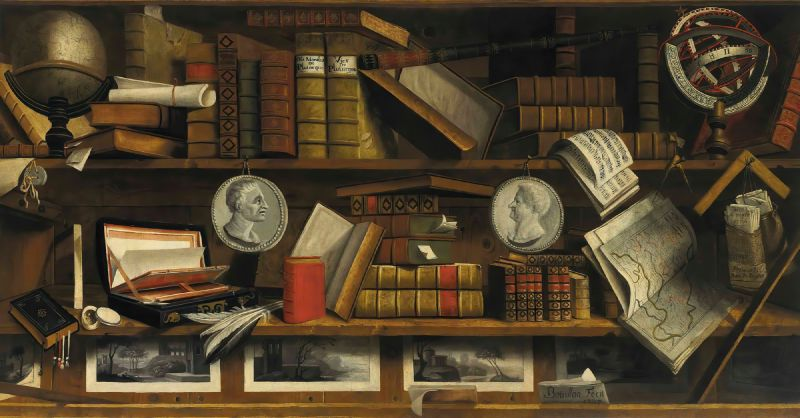 A trompe l'oeil of a collector's study with engravings, drawings, letters and books (1707)