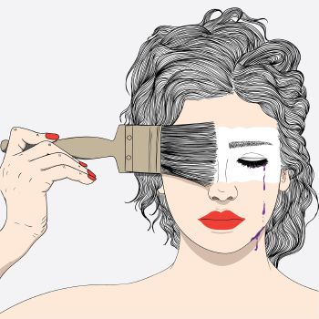 Woman Paintbrush Tears