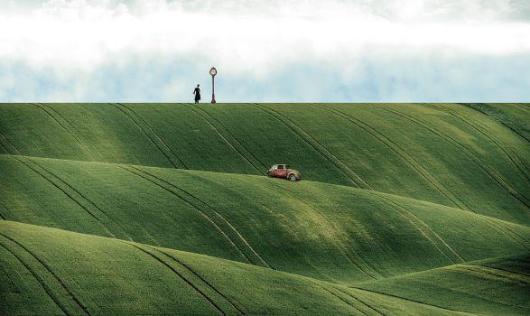 Fantasy, Hills, Nature, Fields, Car