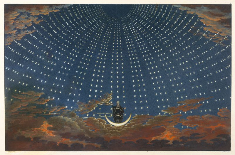 Design for The Magic Flute; The Hall of Stars in the Palace of the Queen of the Night, Act 1, Scene 6 (1847–49)