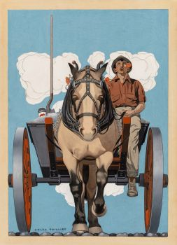 Man riding a horse drawn cart (1921)