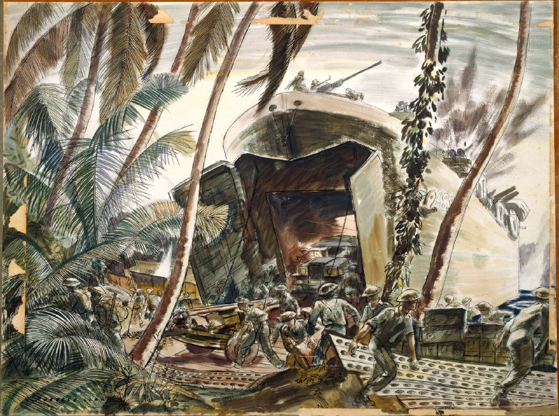 Landing Ships Under Fire, Treasury Island, 1943