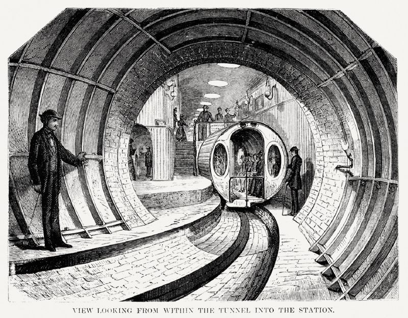 Illustration of the view when looking from within the tunnel into the station from Illustrated description of the Broadway underground railway (1872)